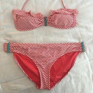 Coral and White Xhilaration Bandeau Bikini